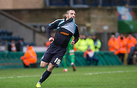 Michael Harriman of Wycombe Wanderers reaction after a missed opportunity during the Sky Bet League 2 match between Wycombe Wanderers and Luton Town at Adams Park, High Wycombe, England on 6 February 2016. Photo by Andy Rowland.