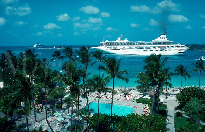 Royal Princess cruise ship departing the Bahamas. Nassau, Bahamas.
