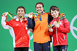 (L to R) <br /> Sri Wahyuni Agustiani (INA), <br /> Sopita Tanasan (THA), <br /> Hiromi Miyake (JPN), <br /> AUGUST 6, 2016 - Weightlifting : <br /> Women's 48kg Medal Ceremony <br /> at Riocentro - Pavilion 2 <br /> during the Rio 2016 Olympic Games in Rio de Janeiro, Brazil. <br /> (Photo by YUTAKA/AFLO SPORT)