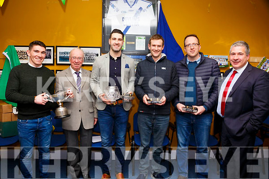 St Marys GAA Club Cahersiveen honored some of its members on Thursday evening last in the Clubhouse for their achievements, pictured l-r; Conor O'Shea(Captain), Junior Murphy(President), Bryan Sheehan(in recognition of his Inter County Football Career, 10 South Kerry Championships, 5 County Championships, 5 All Irelands and an All Star), Niall O'Driscoll(On his retirement as a player from the Club with 10 South Kerry Championships, 4 County Championships & 4 All Ireland Medals), Austin Constable(For setting a new Club record with 11 South Kerry Championships, 1 U21 All Ireland & 4 All Ireland Medals) & Mossey Coffey Chairman St Marys GAA Club.