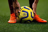 30th November 2019; Stamford Bridge, London, England; English Premier League Football, Chelsea versus West Ham United; Emerson Palmieri of Chelsea picking up the Nike Premier League 2019/20 Strike Football to position for a free kick - Strictly Editorial Use Only. No use with unauthorized audio, video, data, fixture lists, club/league logos or 'live' services. Online in-match use limited to 120 images, no video emulation. No use in betting, games or single club/league/player publications