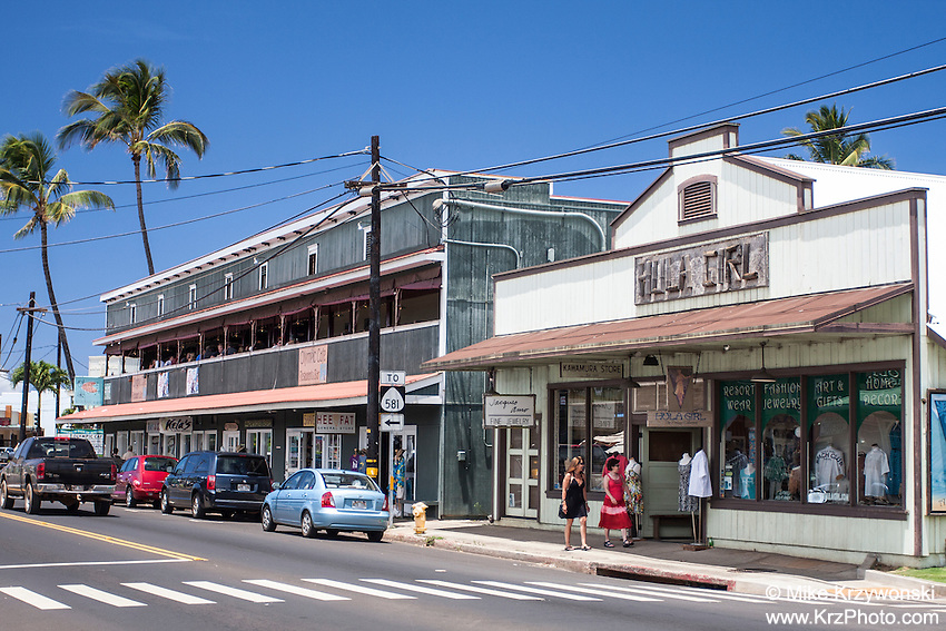 Historic shop buildings in downtown Kapa'a, Kauai, Hawaii