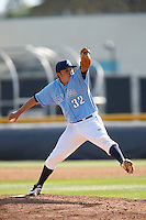 Trevor Bayless #32 of the University of San Diego Toreros pitches against the Cal State Northridge Matadors at Matador Field on March 26, 2013 in Northridge, California. (Larry Goren/Four Seam Images)