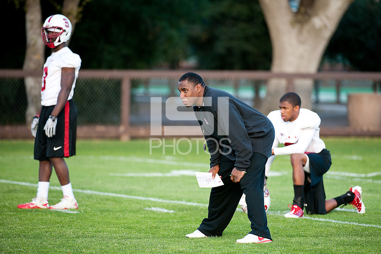 STANFORD, CA - FEBRUARY 21, 2011: Coach Derek Mason, first Spring practice on the football practice fields, February 21, 2011 in Stanford, California.