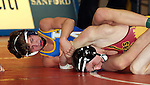 SIOUX FALLS, SD - DECEMBER 28:  John Lemer from Canton has control of Troy Kiggins from Roosevelt in their 126 pound championship match Saturday afternoon December 28, 2013 at Lincoln High School in Sioux Falls, South Dakota. (Photo by  Dave Eggen/Inertia)