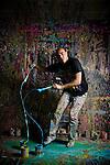 Artist David Garibaldi in his West Sacramento, CA studio.