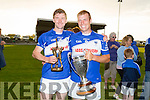 John Egan  man of the match, and captain Denis Moriarty from St. Brendan's Ardfert after winning the County League Hurling Final  against  Ballyduff  at Ballyduff GAA ground on Friday