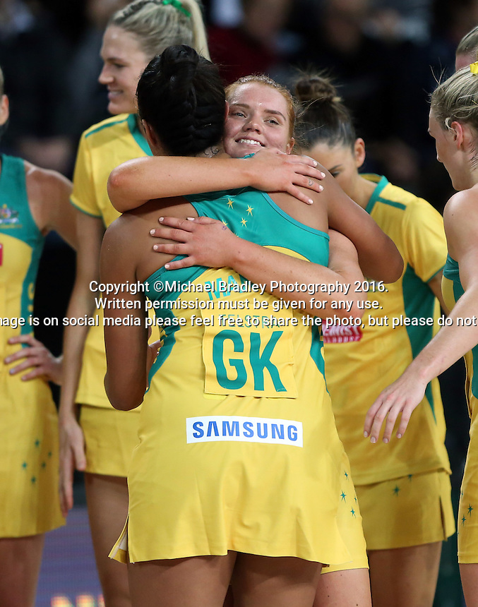 27.08.2016 Australia's Stephanie Wood and Kristiana Manu'a in action during the Netball Quad Series match between South Africa and Australia at Vector Arena in Auckland. Mandatory Photo Credit ©Michael Bradley.