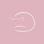 Cute pink curled-up sleeping cat artistic illustration, minimalistic design, white kitten on faded dusty pink background