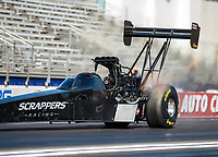 Feb 11, 2019; Pomona, CA, USA; NHRA top fuel driver Mike Salinas during the Winternationals at Auto Club Raceway at Pomona. Mandatory Credit: Mark J. Rebilas-USA TODAY Sports