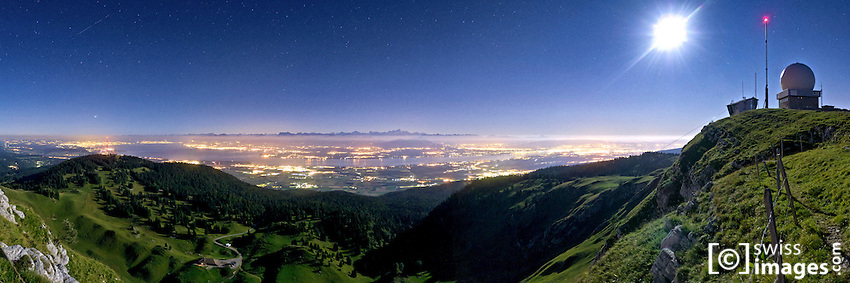 "Night view on the ""Léman Lake"" from ""La Dôle"" (1677m)"