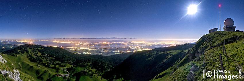 "Night view on the ""Léman Lake"" from ""La Dôle"" (1677m)"