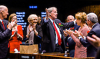 TALLAHASSEE, FLA. 11/18/14-ORGSESS111814CH-President of Florida State University and former Sen. John Thrasher, R-St. Augustine, recognized by the Senate during the Organizational Session, Nov. 18, 2014 at the Capitol in Tallahassee. Thrasher won re-election to his seat, but resigned after the election to accept the position at FSU.<br /> <br /> COLIN HACKLEY PHOTO