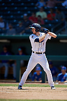 Jacksonville Jumbo Shrimp pinch hitter Brian Miller (5) at bat during a Southern League game against the Tennessee Smokies on April 29, 2019 at Baseball Grounds of Jacksonville in Jacksonville, Florida.  Tennessee defeated Jacksonville 4-1.  (Mike Janes/Four Seam Images)