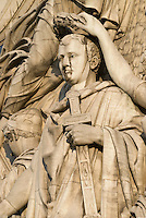 Arc de Triomphe, Paris.  Detail of Napoleon in Cortot's The Triumph of Napoleon sculpture on the Champs Elysee side of the Arc.  Portrait of Napoleon being crowned with the hand of the Spirit of Victory.  July 2008