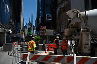 NEW YORK, NEW YORK - JUNE 08: Contruction workers are seen in Times Square on June 08, 2020 in New York City. The City began first phase of reopening after nearly three months of shutdown , also Protests continue over black Americans abuse by the Police (Photo by Kena Betancur/VIEWpress via Getty Images)
