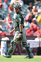 09/13/12 Anaheim, CA: Oakland Athletics catcher George Kottaras #14 during an MLB game played between the oakland Athletics and Los Angeles Angels at Angel Stadium. The Angels defeated the A's 6-0.