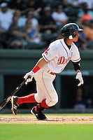 Shortstop Jeremy Rivera (35) of the Greenville Drive bats in a game against the Hagerstown Suns on Sunday, July 17, 2016, at Fluor Field at the West End in Greenville, South Carolina. Hagerstown won, 3-2. (Tom Priddy/Four Seam Images)