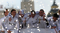 32.05.2012 SPAIN - 2012 Spain Festival celebration champion Real Madrid La Liga 32nd May 03rd. The picture show  Mesut Ozil (German midfielder of Real Madrid),  Angel di Maria (Argentine midfielder of Real Madrid),  Kepler Laveran Pepe (Portuguese/Brazilian defender of Real Madrid)