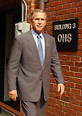 United States President George W. Bush arrives to make a statement to the Travel Pool at the Nebraska Avenue Homeland Security Complex following his tour in Washington, DC on 19 September, 2002.<br /> Credit: Ron Sachs/ Pool via CNP