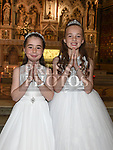 Presley Rae and Rebecca Matthews from Scoil Aonghuasa who recieved First Holy Communion at St. Peter's church. Photo:Colin Bell/pressphotos.ie