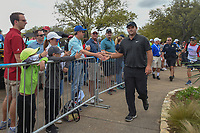 Patrick Reed (USA) high fives fans as he departs the 10th tee  during day 3 of the World Golf Championships, Dell Match Play, Austin Country Club, Austin, Texas. 3/23/2018.<br /> Picture: Golffile | Ken Murray<br /> <br /> <br /> All photo usage must carry mandatory copyright credit (&copy; Golffile | Ken Murray)