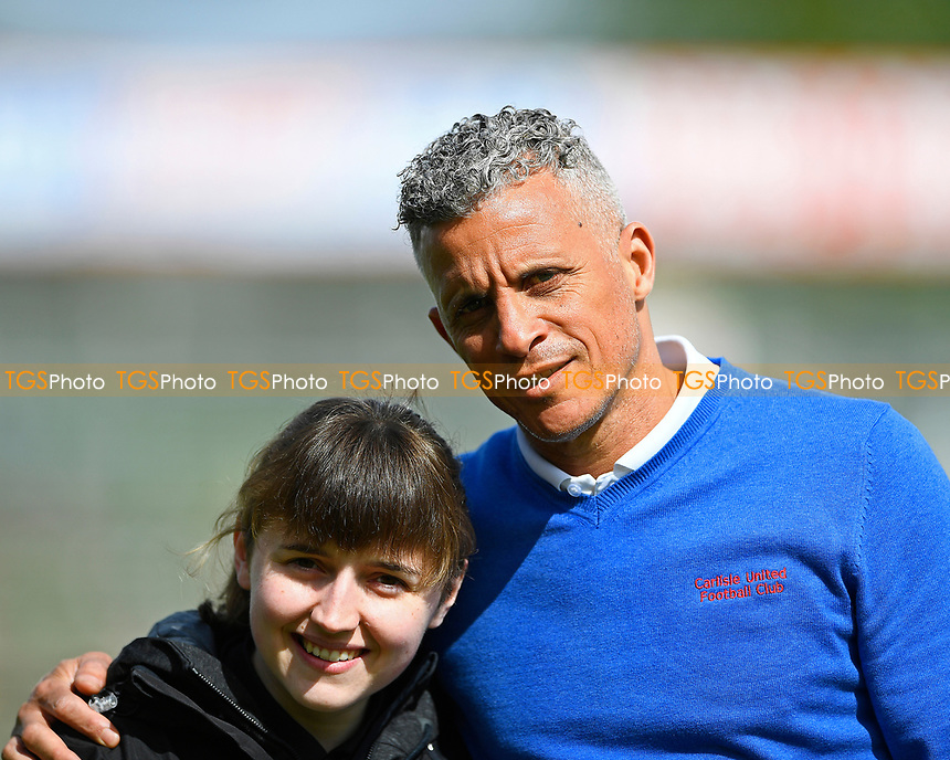 Carlisle United Manager Keith Curle with club official Amy Nixon  during Yeovil Town vs Carlisle United, Sky Bet EFL League 2 Football at Huish Park on 1st April 2017