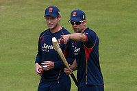 Tom Westley (L) and Alastair Cook of Essex during Lancashire CCC vs Essex CCC, Specsavers County Championship Division 1 Cricket at Emirates Old Trafford on 9th June 2018
