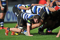 Sid Blackmore of Bath Rugby in action at a scrum. West Country Challenge Cup match, between Gloucester Rugby and Bath Rugby on September 13, 2015 at the Memorial Stadium in Bristol, England. Photo by: Patrick Khachfe / Onside Images