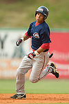 Greenville shortstop Christian Lara rounds second on his way to an inside-the-park home run versus Kannapolis at Fieldcrest Cannon Stadium in Kannapolis, NC, Sunday, June 4, 2006.  Greenville defeated Kannapolis 7-6.