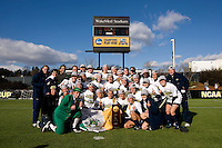 Notre Dame poses with the trophy after the final of the NCAA Women's College Cup at WakeMed Soccer Park in Cary, NC.  Notre Dame defeated Stanford, 1-0.