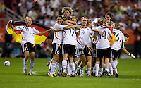 German post-game celebration. Germany defeated Brazil, 2-0 during the FIFA Women's World Cup final at Hongkou Stadium in Shanghai, China on September 30, 2007.