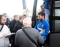 Lincoln City manager Danny Cowley arrives at the ground<br /> <br /> Photographer Andrew Vaughan/CameraSport<br /> <br /> The EFL Sky Bet League Two - Port Vale v Lincoln City - Saturday 14th April 2018 - Vale Park - Burslem<br /> <br /> World Copyright &copy; 2018 CameraSport. All rights reserved. 43 Linden Ave. Countesthorpe. Leicester. England. LE8 5PG - Tel: +44 (0) 116 277 4147 - admin@camerasport.com - www.camerasport.com