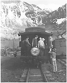 Rocky Club excursioneers on the platform of RGS business car Edna at Pandora.<br /> RGS  Pandora, CO  Taken by Lundahl, Ingrid - 5/28/1949