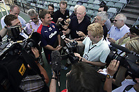PICTURE BY VAUGHN RIDLEY/SWPIX.COM - Rugby League - Rugby League World Cup 2008 - England Training Session - Olympic Park, Melbourne, Australia - 29/10/08...Copyright - Simon Wilkinson - 07811267706...England's Tony Smith announces to the media that Mark Calderwood is in the squad to face Australia this Sunday night.