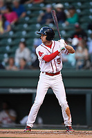 Center fielder Cole Brannen (5) of the Greenville Drive bats in a game against the Columbia Fireflies on Wednesday, April 18, 2018, at Fluor Field at the West End in Greenville, South Carolina. Columbia won 8-4. (Tom Priddy/Four Seam Images)