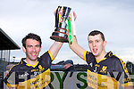 Dr Crokes captains Ambrose O'Donovan and Mike Moloney lift the O'Donoghue cup in Fitzgerald Stadium on Sunday