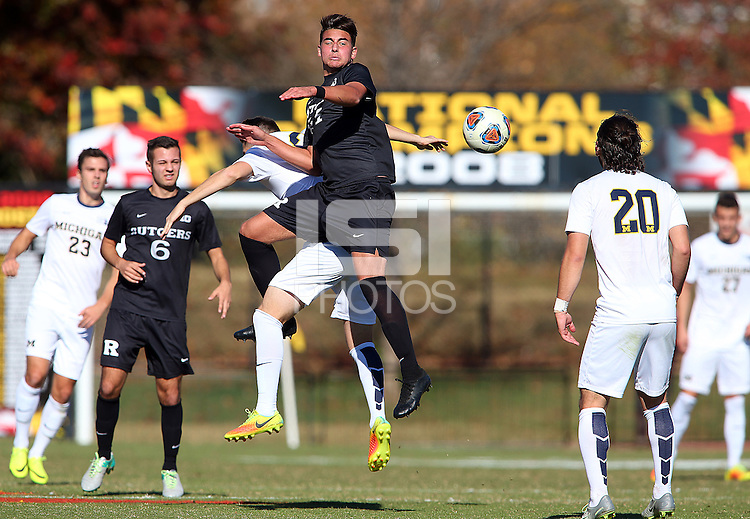 College Park, MD  - Saturday November 5, 2016: Michigan defeated Rutgers 2-1 in a Big Ten Tournament first round match at Ludwig Field.
