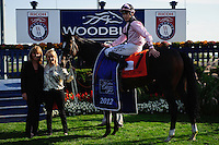 Wigmore Hall (IRE) (7)  with jockey Jamie P. Spencer in the winners circle after winning the Canadian Stakes (Grade II) at Woodbine Race Course in Ontario, Canada on September 16, 2012.