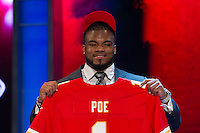 The 11th overall pick defensive tackle Dontari Poe (Memphis) of the Kansas City Chiefs during the first round of the 2012 NFL Draft at Radio City Music Hall in New York, NY, on April 26, 2012.