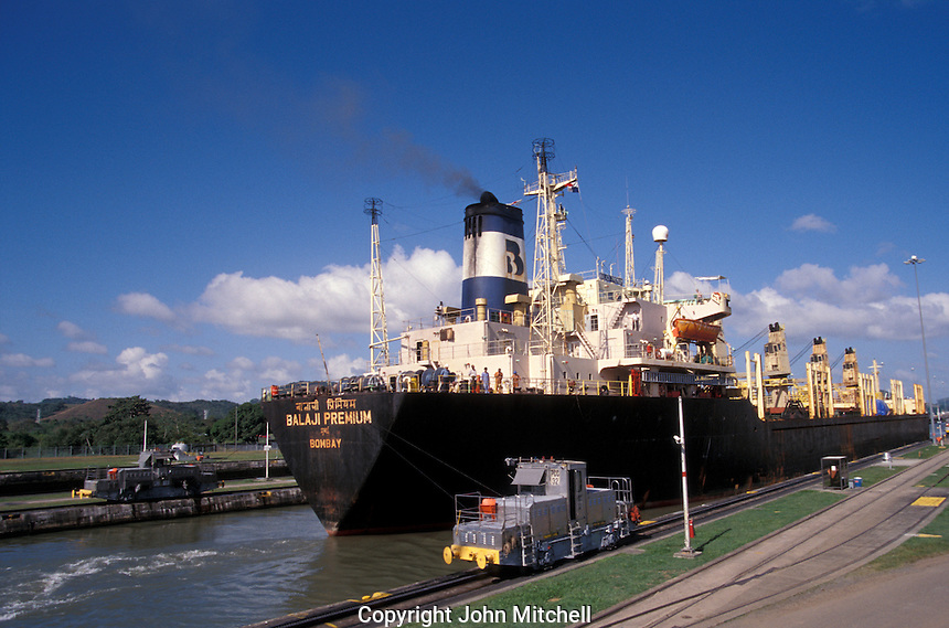 Indian freightor passing through the Miraflores locks in the Panama Canal