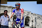Thibaut Pinot (FRA) Groupama-FDJ at sign on before the start of Stage 16 of the 2019 Tour de France running 177km from Nimes to Nimes, France. 23rd July 2019.<br /> Picture: ASO/Pauline Ballet | Cyclefile<br /> All photos usage must carry mandatory copyright credit (© Cyclefile | ASO/Pauline Ballet)