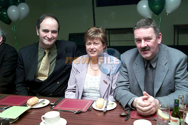 John Savage, chairman Termonfeckin G.F.C., Helena Kirwan, secetary and Pat Toner, secetary Louth County Board at the Termonfeckin G.F.C. Social in the Glenside Hotel..Picture Paul Mohan Newsfile