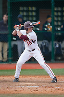 Phil Sciretta (15) of the Virginia Tech Hokies at bat against the Toledo Rockets at The Ripken Experience on February 28, 2015 in Myrtle Beach, South Carolina.  The Hokies defeated the Rockets 1-0 in 10 innings.  (Brian Westerholt/Four Seam Images)