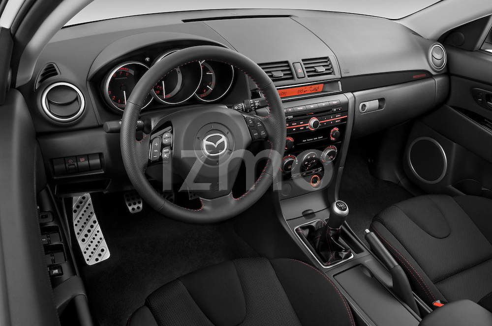 High angle dashboard view of a 2008 Mazda Speed 3