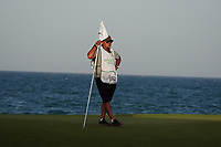 Kyle Roadley caddy for Sami Valimaki (FIN) on the 18th during Round 4 of the Oman Open 2020 at the Al Mouj Golf Club, Muscat, Oman . 01/03/2020<br /> Picture: Golffile | Thos Caffrey<br /> <br /> <br /> All photo usage must carry mandatory copyright credit (© Golffile | Thos Caffrey)