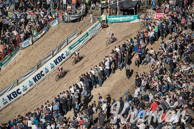 race leaders Mathieu Van der Poel (NED/Beobank-Corendon) & Wout Van Aert (BEL/Crelan-Vastgoedservice) descending into 'The Pit'<br /> <br /> CX Superprestige Zonhoven 2016