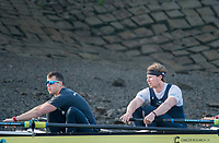 Putney, London,  Tideway Week, Championship Course. River Thames,  Oxford UBC. [R] 5: Olivier Siegelaar and 6: Michael DiSanto, <br /> Tuesday  28/03/2017<br /> [Mandatory Credit; Credit: Peter Spurrier/Intersport Images.com ]
