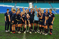 The USA hoists the title trophy for the 2010 Algarve Cup.  The USA captured the 2010 Algarve Cup title by defeating Germany 3-2, at Estadio Algarve on March 3, 2010.