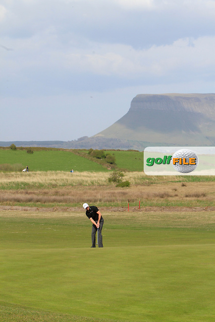 Robert Cannon (Balbriggan) on the 15th tee during round 2 of The West of Ireland Amateur Open in Co. Sligo Golf Club on Saturday 19th April 2014.<br /> Picture:  Thos Caffrey / www.golffile.ie